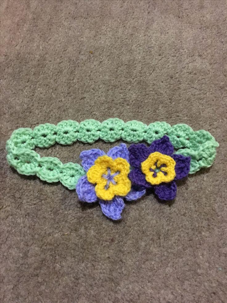 Crochet flower headband for a little girl