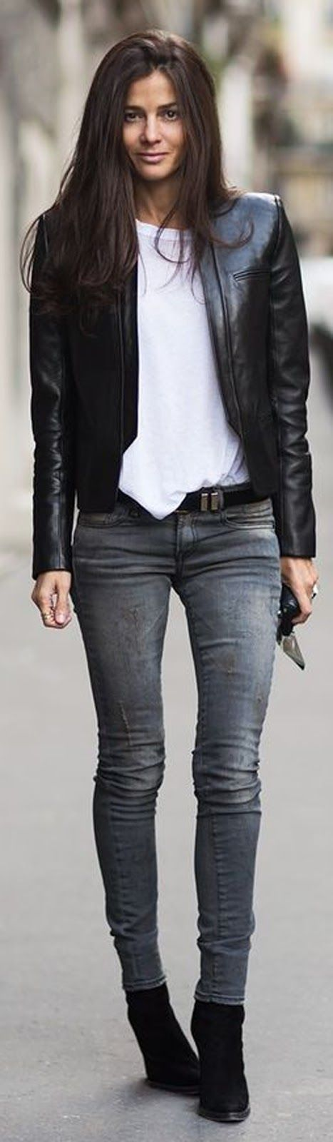 skinny jeans + leather jacket