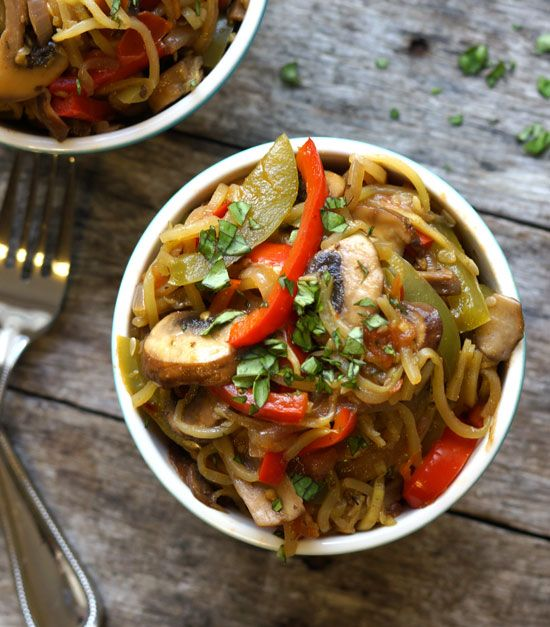 Cajun Zucchini Noodle Pasta (Vegan, Paleo). This spicy dish is low in calories and carbs, but packs a spicy punch of flavor and loads of nutrient-rich veggies!