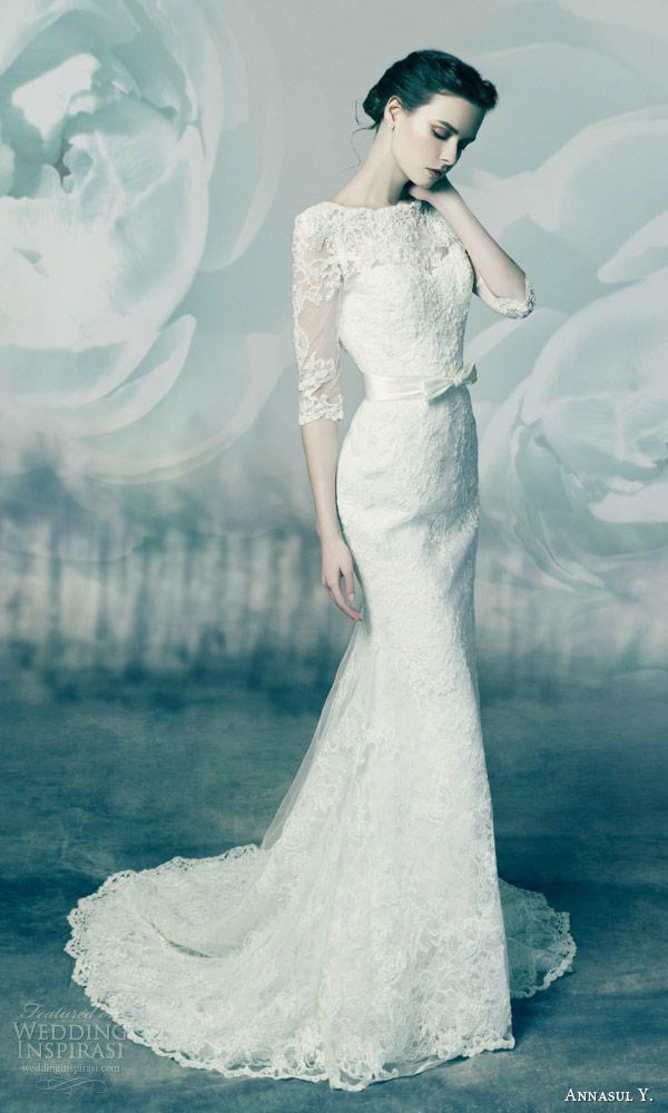 annasul y bridal 2016 quartz sheath wedding dress three quarter lace sleeves scalloped neckline