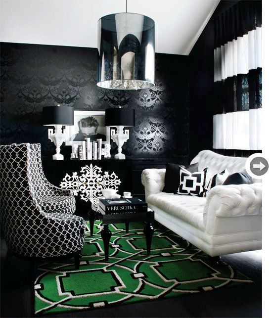Black White and Kelly Green | bold blend of colour and pattern...not my usual tastes, but something about this room speaks to me.