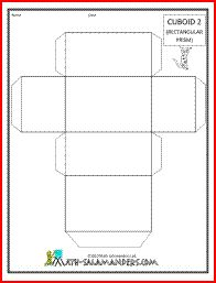 Cuboid 2, a printable net for a cuboid available with or without tabs