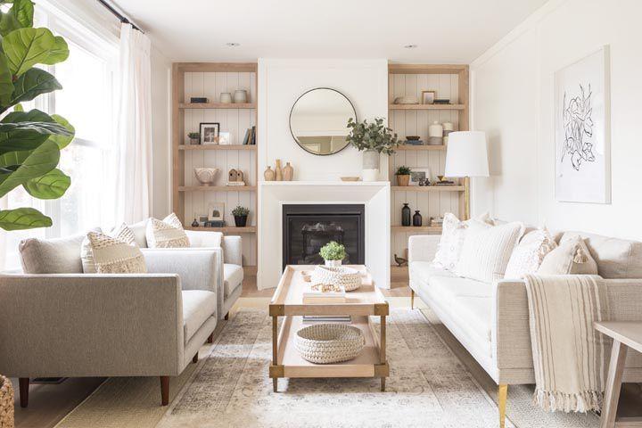 20 One Room Challenge Makeovers That Are The Definition Of Inspiring Living Room Shelves Elegant Living Room Neutral Living Room