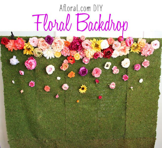 Make this beautiful flower backdrop for your wedding. It can be used as decoration and it makes a great photo backdrop.  Find the high-quality silk flowers and supplies you need at Afloral.com