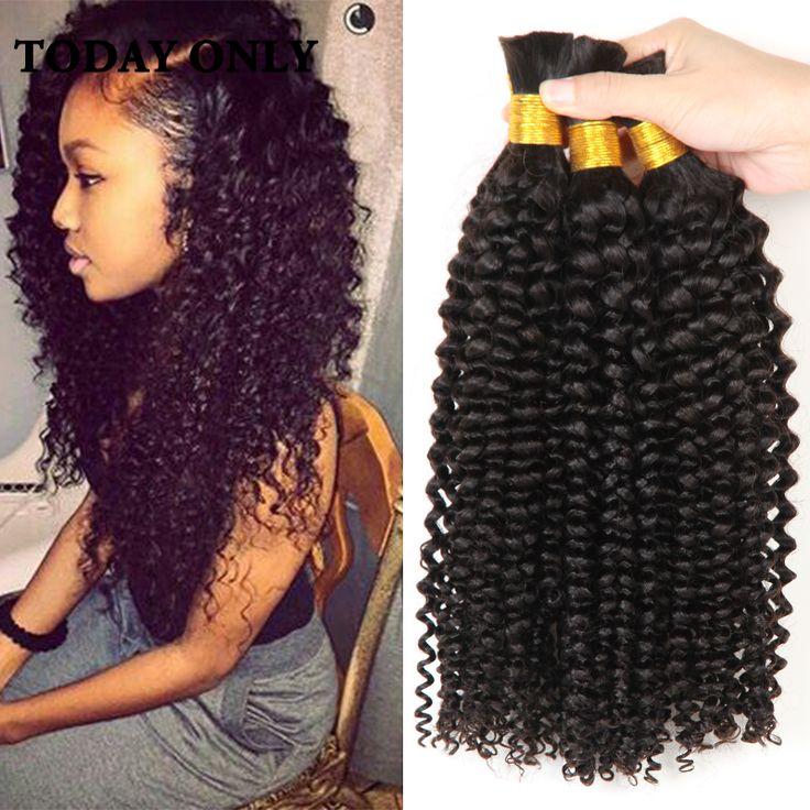 4 Bundles Brazilian Afro Kinky Curly Hair 10A Mink Brazilian Virgin Hair Human Braiding Hair Bulk No Weft Brazilian Deep Wave