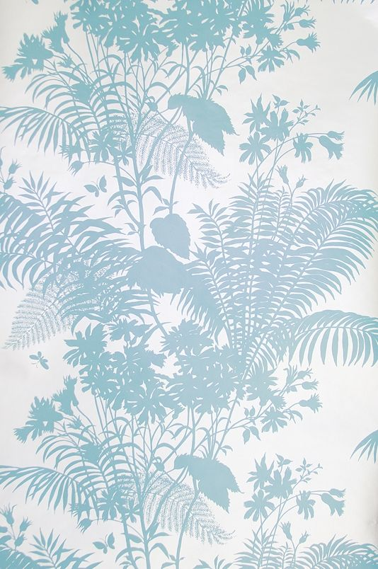 Shadow Floral Wallpaper Striking silver wallpaper with floral silhouette design in aqua blue.