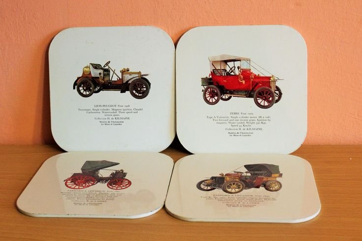 Vintage Antique Car Coaster Set of 4, Car's Theme Coasters, Oldtimer Cars, Auto Man Cave Bar Decor by Grandchildattic on Etsy
