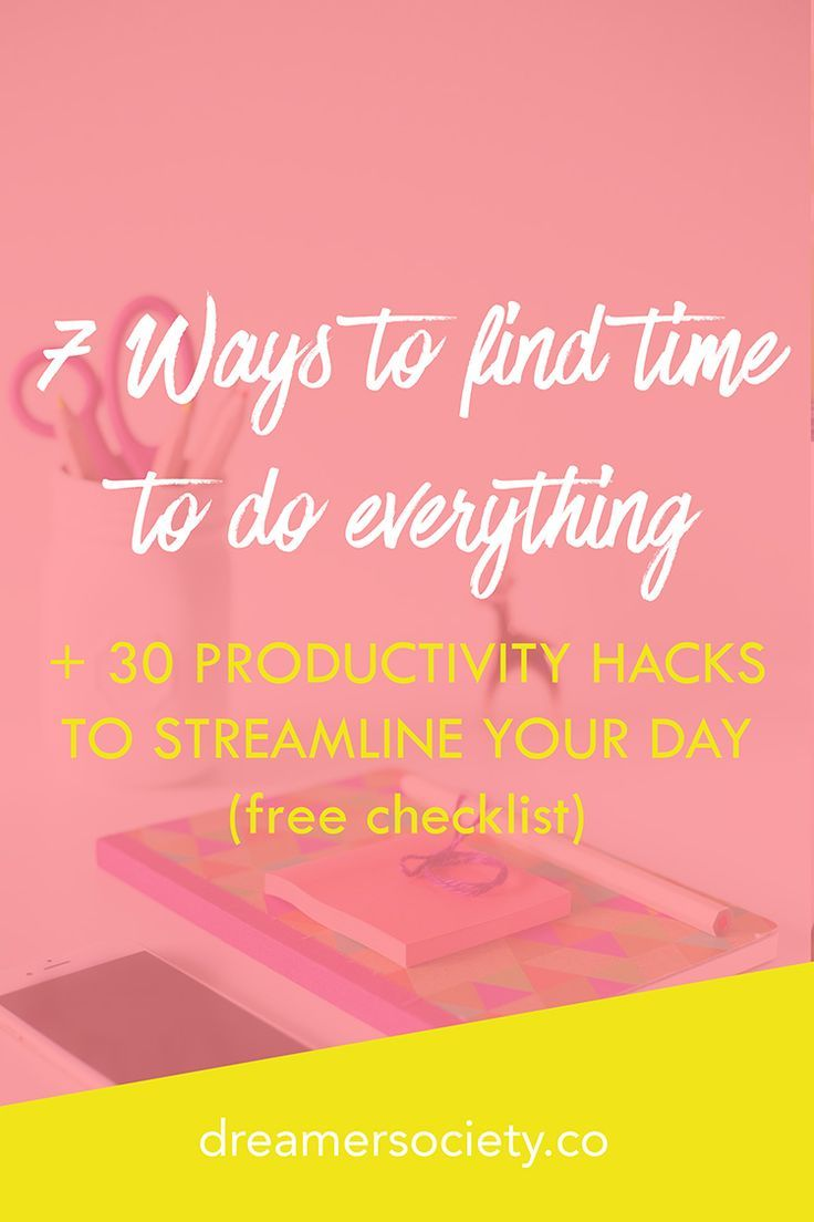 Learn 7 ways to find time to do everything, and get a free checklist of 30 productivity hacks that will help streamline your day. (Click through for the free download!)