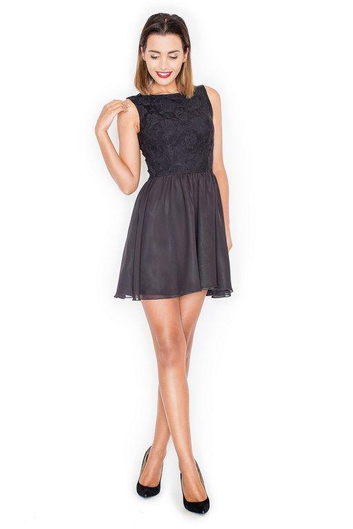 Czarna koktajlowa sukienka tiulowa