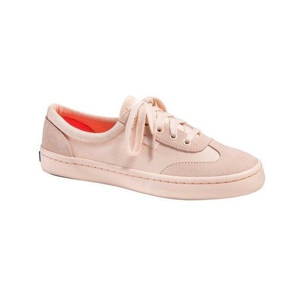 Women's Keds Tournament Retro Court Mono Sneaker ($58) ❤ liked on Polyvore featuring shoes, sneakers, athletic, canvas shoes, keds sneakers, laced flats, lace up sneakers, keds flats and peach flats