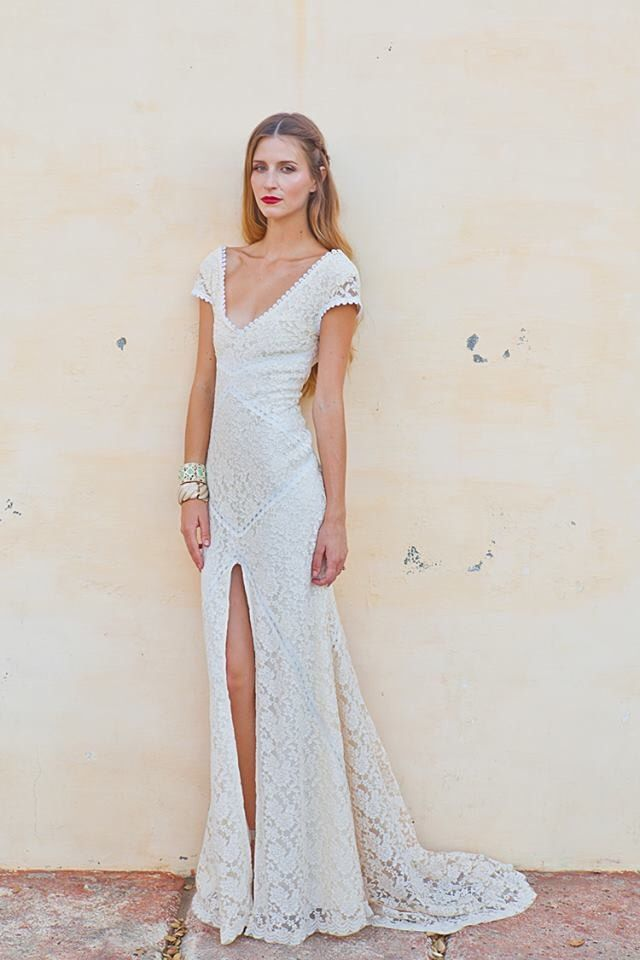 Stretch Lace Bohemian Wedding Dress | LACE GOWN with Train | Low Back and Front Slit | Ivory or Whit 15