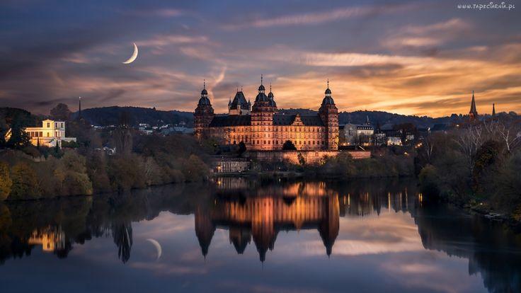 Jezioro, Zamek, Wieczór, Księżyc, Moritzburg, Saksonia, Niemcy