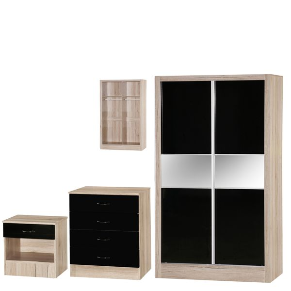 MARLA HIGH GLOSS BLACK OAK SLIDER BEDROOM SET Bedroom Furniture Set-Oak, White, Black, Red, Blue, Mirrored bedroom furniture set available at MFD www.modernfurnituredeals.co.uk