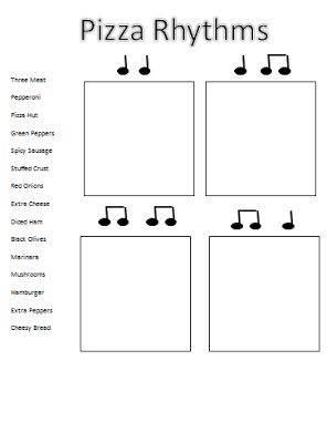 Elementary Music Methods: Real Life Edition: Pizza Love... I have a bunch of pizza fraction games that I use for teaching rhythms. This will be a great tie-in.