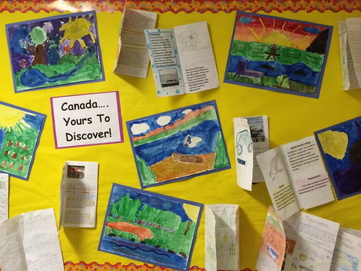 Integrated lesson with art and social studies. The kids designed a travel brochure for a province/territory of Canada, then using watercolours they created a landscape scene drawing on inspiration from Group Of Seven works.