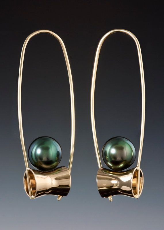 These Black Tahitian pearl earrings are very lightweight earrings with 9 mm black pearls. These lock into themselves, so you dont lose them. I love the way the pearls look like they are about to roll off. That wont happen, you can go dancing in these. Love the negative space in these earrings. These can also be done with Chocolate, White, Golden or Pink Pearls. Jerry