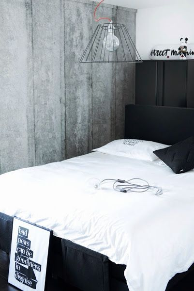 The home of a fashion blogger | A bedroom in concrete