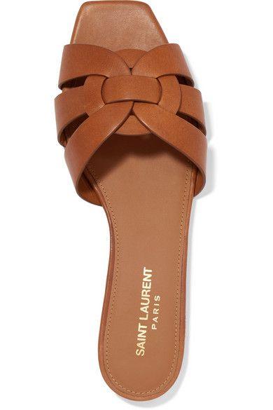 7e53a3e1db41 Saint Laurent - Nu Pieds Woven Leather Slides - Tan