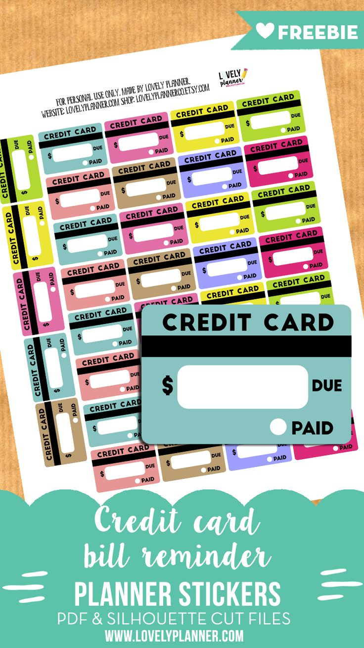 Free Printable Planner Stickers to keep track of your credit card bills. PDF and cut files included.