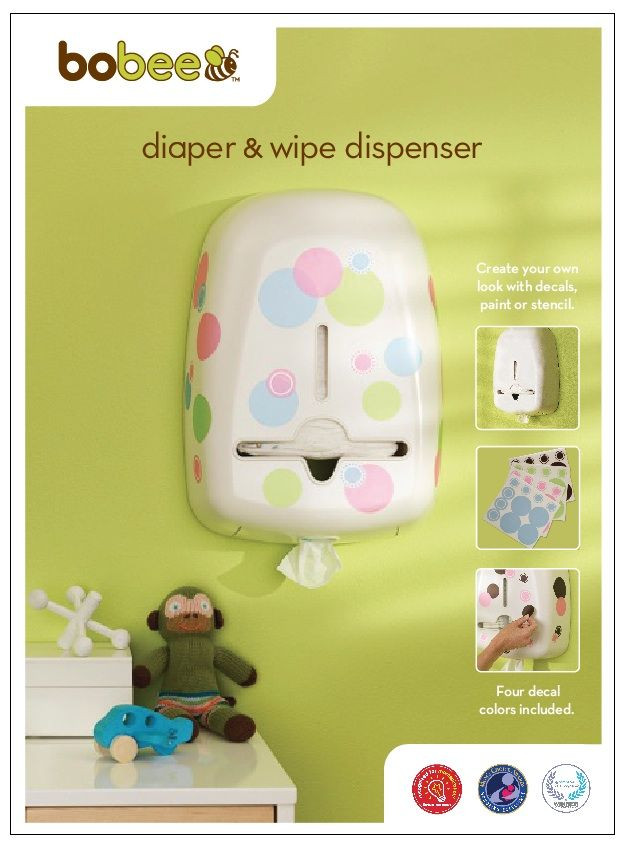 Bobee diaper stacker and wipe caddy. Customize it to match your nursery room decor. Colorful decals included or paint and stencil for a unique DIY look at match the baby room.