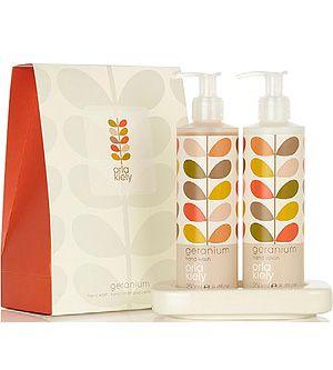 Orla Kiely - Geranium Hand Wash, Hand Lotion & Ceramic Dish Set - 3 pcs