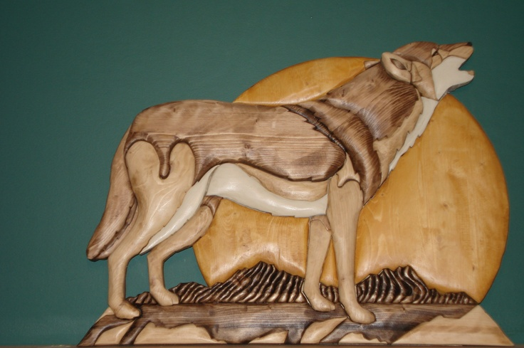 Howling wolf intarsia pinterest wolves