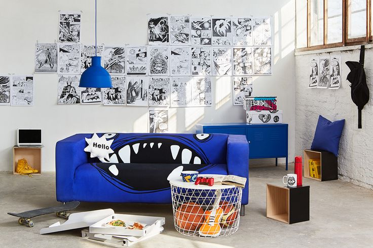ARTEFLY Ikea Klippan cover THE MONSTER - interior styling / teen bedroom, fabric with scary monster print