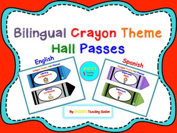My Bilingual Crayon Theme Hall Passes can be cut, laminated, hole punched and laced with string or ribbon, or applied a magnet adhesive…