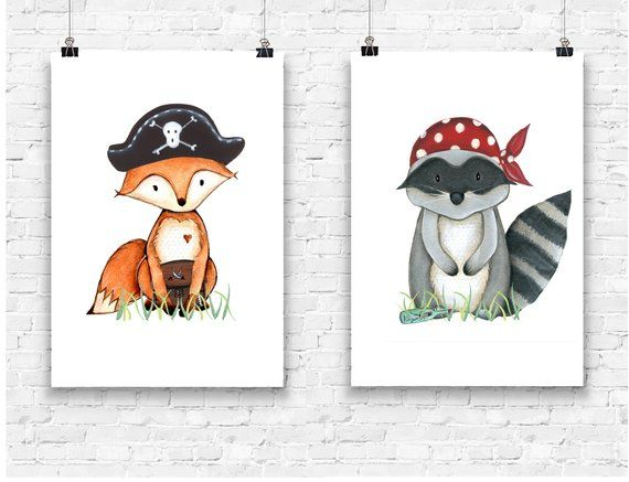 2er Set Bilder Waldtiere Fuchs und Waschbär Piratenbande