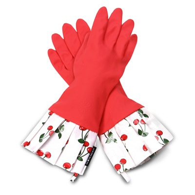 Give cleaning new meaning with chic and stylish red Gloveables, dressed up with darling ruffles in a retro cherry print. Thicker than standard rubber gloves, waterproof Gloveables are tough enough to protect your manicure while cleaning, dish washing and even gardening. Gloveables kitchen gloves are lined to prevent irritation and sweating and are equipped with a handy hang tab. Gloveables is committed to producing high quality, long-lasting products while providing ethical wages and…