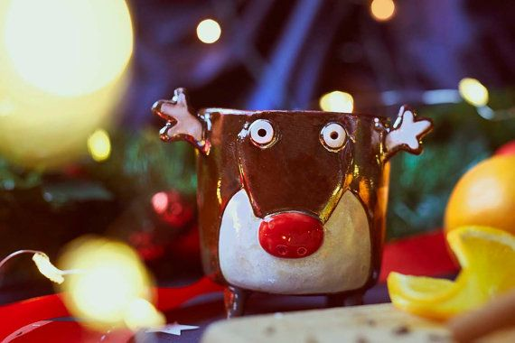 Ceramic mug Rudolph the reindeer , Handmade, Large Ceramic Coffee Mug, dreindeer shaped mug from Lamabo
