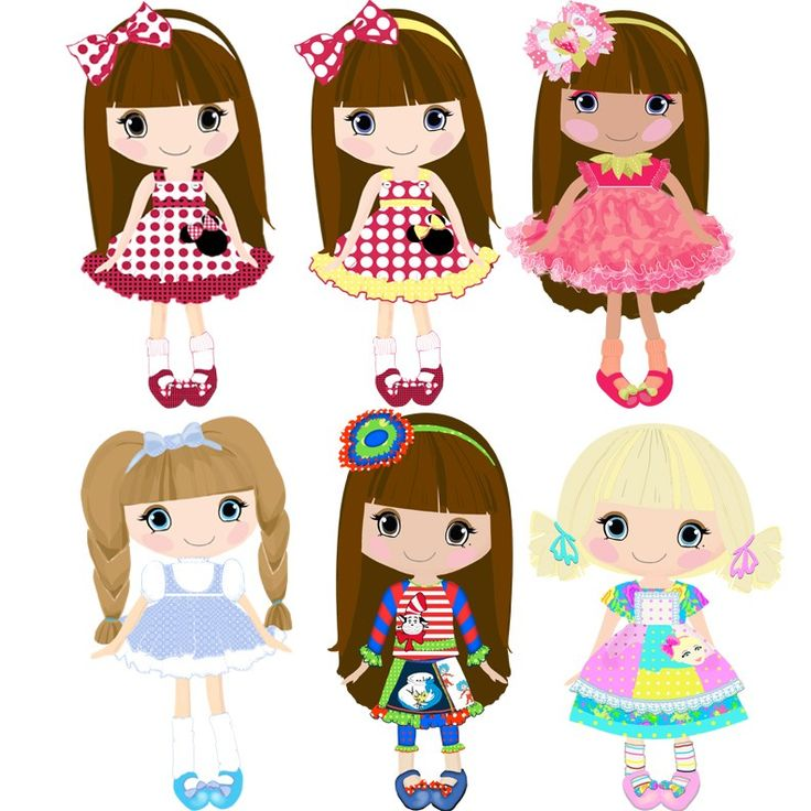 Doll clip art- Digital Clipart ETSY 18png300dpi for commercial and personal use.