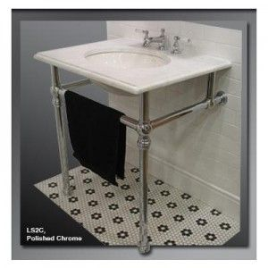 Undermount Wall Sink With Chrome Legs Palmer Console Legs Traditional Chrome Bathrooms