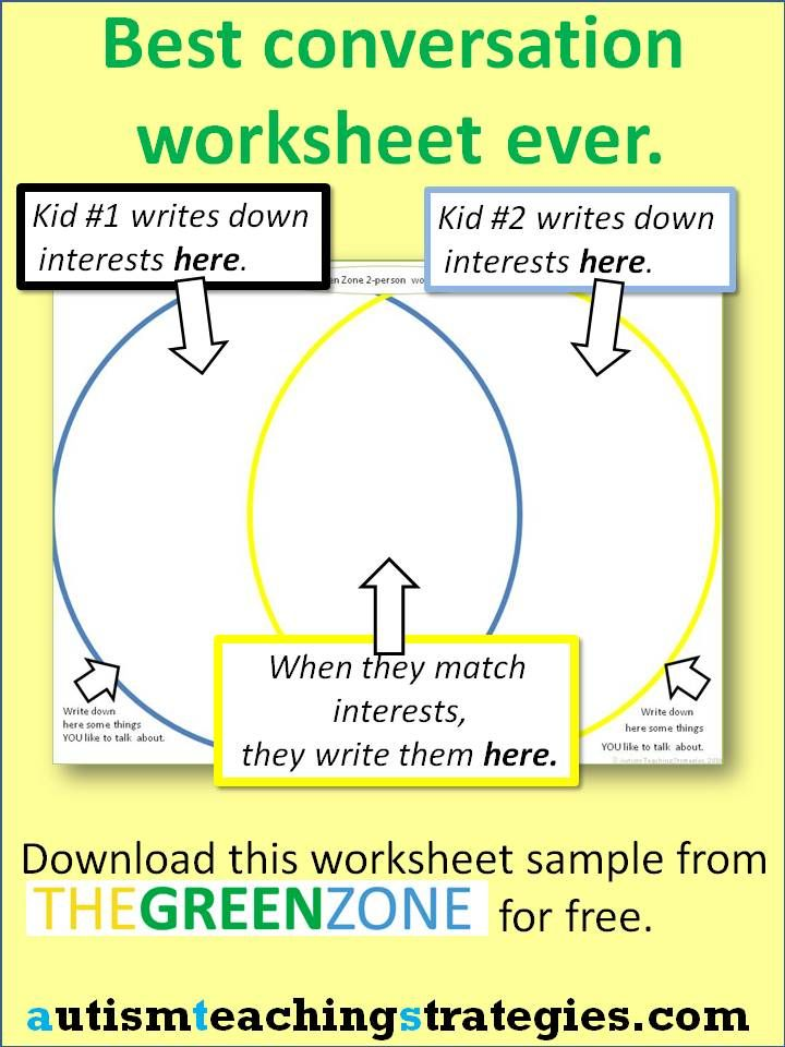 """Here you can download a few really useful worksheets to help kids with Asperger's and other autism spectrum disorders to learn """"common ground"""" with a conversation partner.  The sheet shown is filled out by two children simultaneously as they sit facing each other across a table.  Try it.  If you like it, check out the Green Zone kits on our website. This was pinned by pinterest.com/... .  Follow all our boards."""