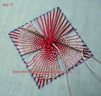 NaliniAnbarasu's Tutorials: KADAI KAMAL STITCH. Woven embroidery stitch.
