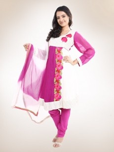 Purple Anarkali  Suit  with  Off-White  Sequenced Yoke