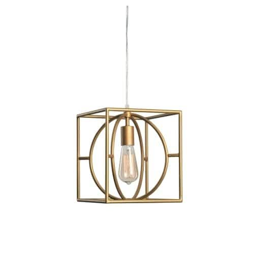 Kenroy Home 93882 Adele Single Light 9 Wide Cage Mini Pendant with Gold Metal (Grey) S