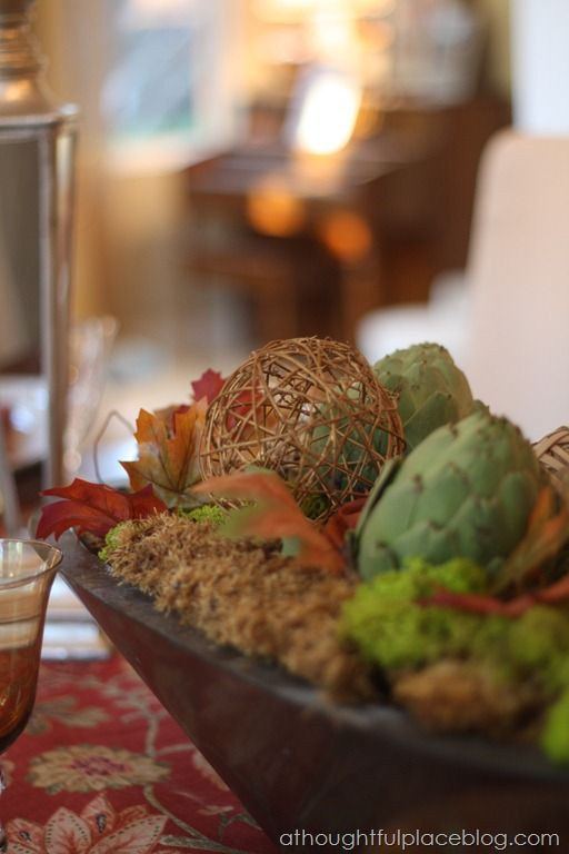 Natural elements for  a fall table   a thoughtful place
