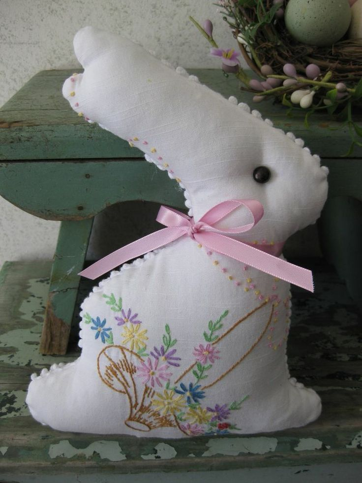 Re-purposed Doily * Hand embroidered Linen Bunny * DIY hand-sewn doll inspiration * Handmade Shower gift or country decor * Great use for vintage linens!