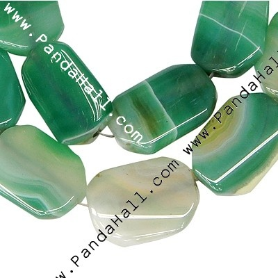 """Natural Striped Agate Beads Strands, Octagon, Dyed, Green, Size: about 18~21mm wide, 25~28mm thick, 5~7mm thick, hole: 2mm, 16pcs/strand, 16"""""""