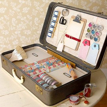 so neat! mlannanCrafts Stations, Organic, Crafts Boxes, Vintage Suitcases, Old Suitcases, Crafts Storage, Storage Ideas, Crafts Supplies, Wraps Stations