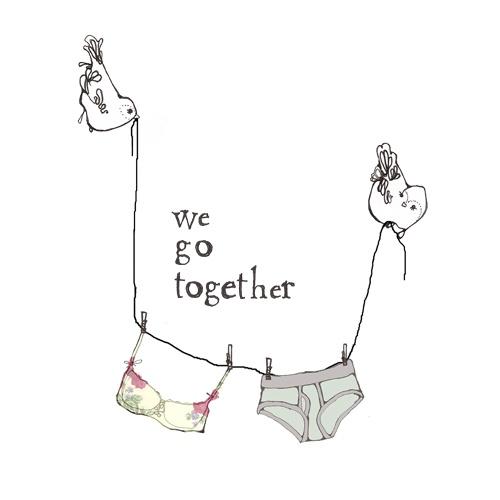 'We go together' Birds and bra illustration