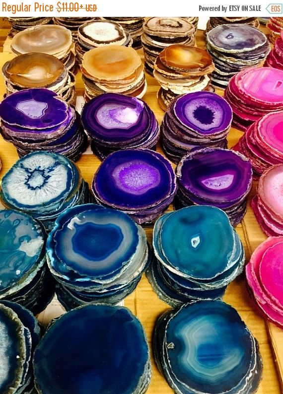 Listing is for One (1) Agate Coaster You can select from Blue, Teal, Pink, Natural/Black or Purple We get requests all the time for sets of