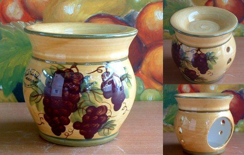 "Tuscany Grape Kitchen Decor Tart Burner/warmer Hand Painted by ACK. $20.97. hand painted tuscany grape wine style. ceramic kitchen decor. disherwasher safe. This is a candle tart burner/warmer. It measures 4.5"" in diameter and 4.5"" high. Somebody even use it as a scrubby holder to match the same collection style kitchenware(spoon rest, lotion jar, fruit bowl, canister set....)."