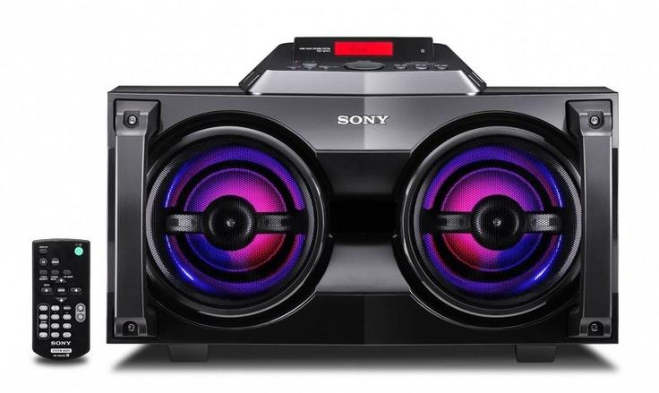 Sony Muteki Mini Hi-Fi System with illuminating speakers.