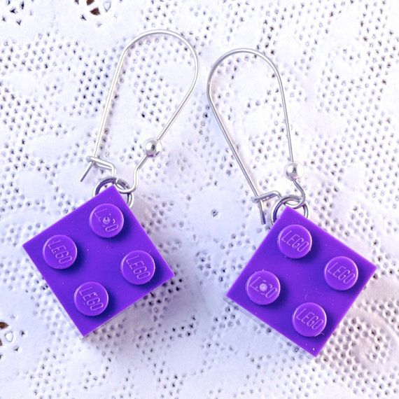 Purple LEGO® earrings - Dangly LEGO® Earrings - LEGO® Gifts - Cool Gift For Teen - Lego® Gift for Adults - Girl Gift Ideas - Purple earrings ~ Learn more at http://www.BrickAndButton.com