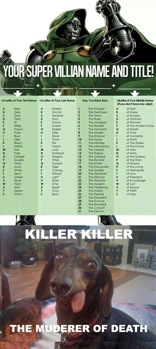 Your Super Villain Name: I am Killer Thorn the General of Earth Flare Lord The Watcher of the Living