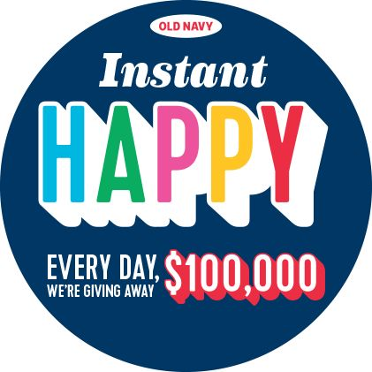 Old Navy Instant Happy 2016 Sweepstakes Ends November 25, 2016 Instant Win Game (open only to residents of the U.S): 1. Make a Purchase: During the Entry Phase, visit an Old Navy store location in the U.S. and make a purchase to receive one (1) scratch off card. Once you receive your scratch off card, …