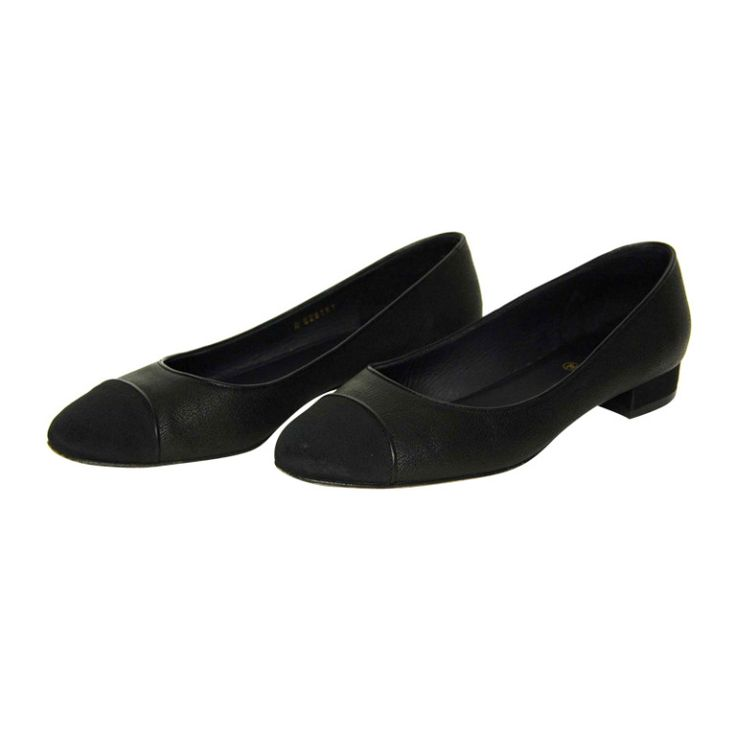 CHANEL Black Leather Flats W. Grosgrain Cap Toe Sz. 39.5 RT. $750 c. 2012   From a collection of rare vintage shoes at http://www.1stdibs.com/fashion/clothing/shoes/