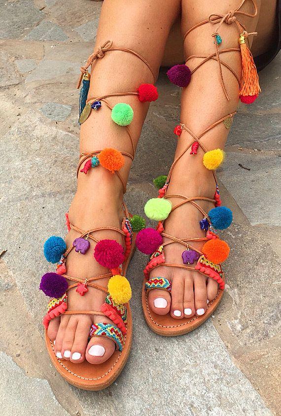Pom Pom Tie Up Sandals ''Nafsika'' Boho